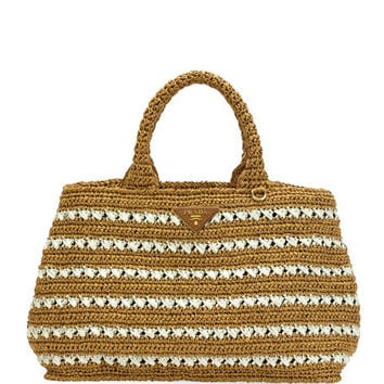 Prada Striped Raffia Carryall Tote Bag