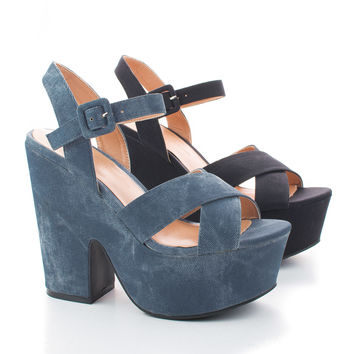 Elfi05A Open Toe Strappy Slingback High Platform Chunky Casual Heels