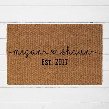 Custom Couple's Names and Date Doormat | Personalized Doormat | Welcome Rug | Housewarming Gift | Wedding Gift | Couples Gift