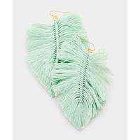 Mint Fringed Feather Earrings