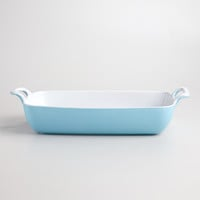 Large Aqua Rectangular Open Baker