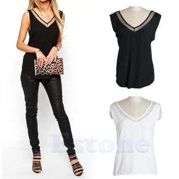 Summer Women Tank T-Shirt Casual V-Neck Vest Loose Chiffon Sleeveless Top  Hot