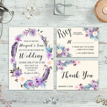Printable Wedding Invitation Floral Wedding Invitation Suite Boho Wedding Invite Purple Teal Beach Wedding invite Set Digital Invitations