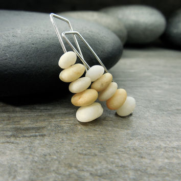 Tiny Pebble Earrings Mindfulness Jewelry Zen Stacking Stones Beach Comber Pale Yellow Natural White Modern Drop Style Minimalist Design