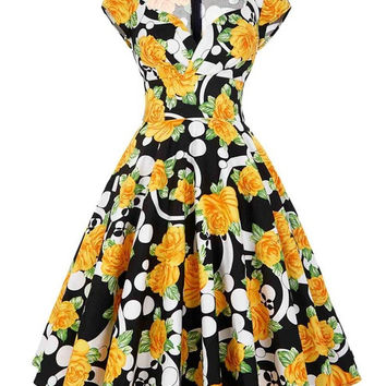 Belle Poque Womens Summer Dresses 2017 Summer Retro Cotton Party Dress Polka Dot Pattern Floral Short Vintage 60s 50s Dresses