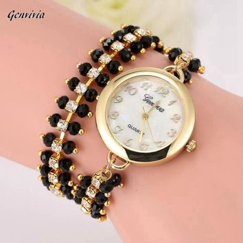 Rhinestone Bracelet Gold Color Ladies Watch