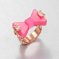 Marc by Marc Jacobs - Bownanza Resin Bow Ring/Pink - Saks Fifth Avenue Mobile