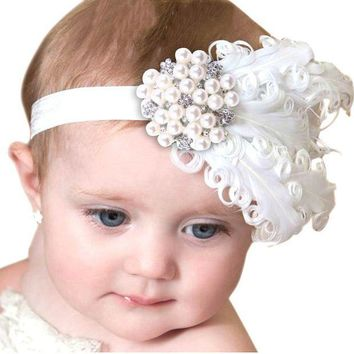 ESB1ON Feather Headband Kids Crystal Beads Flower Pattern Hair Accessories For Little girls Princess Hairband Cheveux haar accessoires