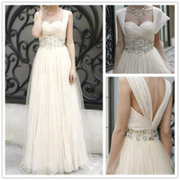 A-Line Floor-Length Straps Empire Waistline Flowers Prom Dressess