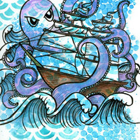 Octopus Ship Nautical Painting OOAK 9x12 Illustration Ink Acrylic Watercolor Wall Art Unframed Orange Blue Purple Turquoise Kraken