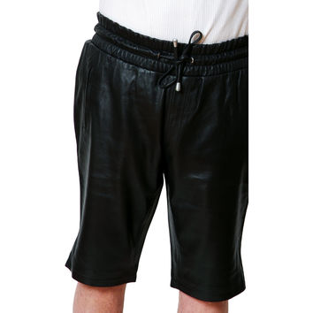 "Mens Leather Shorts Black 13"" inseam with pockets relaxed fit Smooth by CD D C"