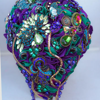 Cascade Peacock Wedding Brooch Bouquet. Purple Gold Peacock Wedding Brooch Bouquet.Purple Peacock Feather. Ready to ship