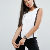 ASOS Top With Contrast Lace In Ponte at asos.com