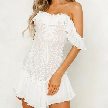 Lace off the Shoulder Pleated Ruffled Dress in White