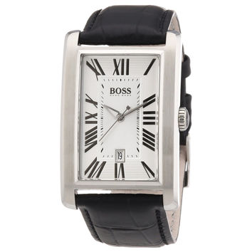 Hugo Boss 1512707 Men's Rectangular Silver Dial Leather Strap Date Watch