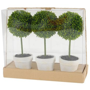 """Mini Artificial Potted Boxwood Topiaries in Green - Set of 3 - 9"""" Tall"""
