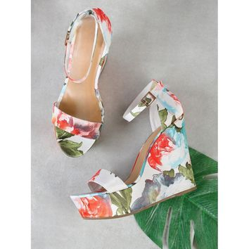 Single Band Thin Ankle Strap Floral Print Platform Wedge Sandal WHITE MULTI