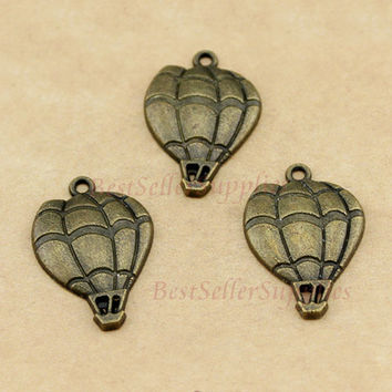 Bulk 20 PCS, Hot Air Balloon, Antique Brass Tone, Fire Balloon Pendants, Hot Air Adventure, Jewelry Making Fittings, Craft Supplies, 25*17MM