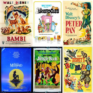 Disney Vintage  Movie Posters Print Only Lots Of Variations!!! PRINT ONLY Laminate Option Available!