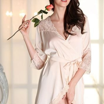Women Sexy Faux Silk Robe With Sashes Lace Splicing Satin Bathrobe