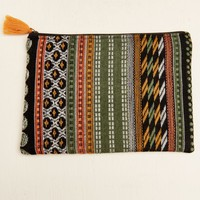 **Multi Orange Tassel Woven Pouch**