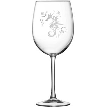 Premium Tulip Wine Glass, Seahorse Design (With Stem)
