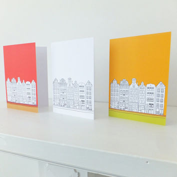 Set of 3 Amsterdam Cards, Blank Cards with envelopes, Bright Colours Cards, Greeting Cards, Thank You Cards, Note Cards, Notecards