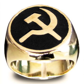 Bronze Hammer and Sickle CCCP Communist USSR Ring in Black