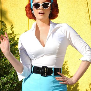 Pinup Couture Lauren Top in White