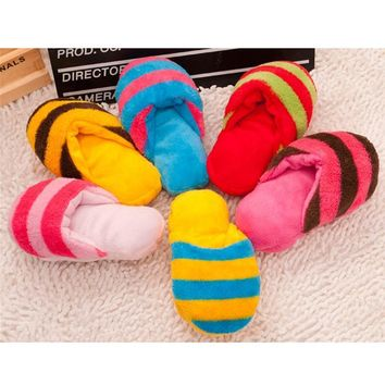 Cute Puppy Fad Magnetic Dog Toy Pet Chew Play Squeaker Sound Plush Slippers New Dog Ca