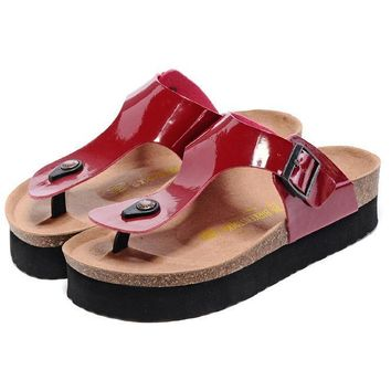 Birkenstock Leather Cork Flats Shoes Women Men Casual Sandals Shoes Soft Footbed Slippers-163