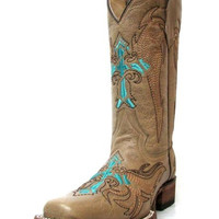 Circle G L5106 Turquoise Cross Leather Boots