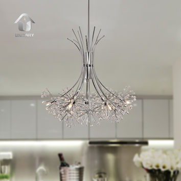 Contemporary Large Crystal Chandelier Max 60W with 6 Lights Chrome Finish