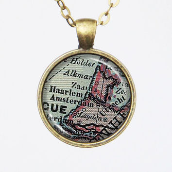 Amsterdam Map Necklace - Netherland, Customizable Map Necklace -Vintage Map Series
