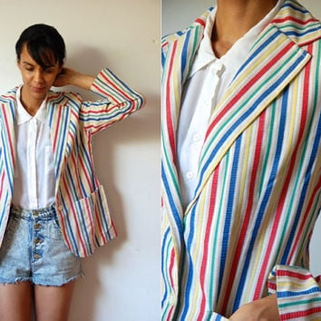 Vtg Colorful Stripes Button Down Retro Blazer Jacket