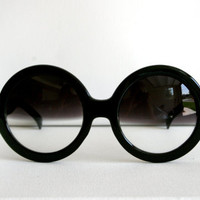 Oversized Circle Half Dark Tinted Black Boho Sunglasses