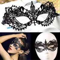 Sexy Black Lace Floral Eye Mask Venetian Masquerade Fancy Party Dress Costume (Size: M, Color: Black) = 1946899972