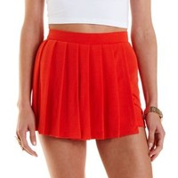 Coral Pleated Mini Skort by Charlotte Russe