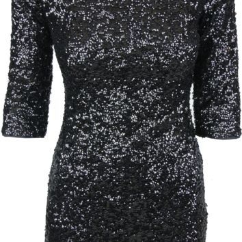 Sequin 3/4 Sleeve Dress