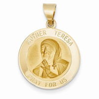 14k Yellow Gold Mother Teresa Medal Pendant