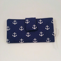 Organizer Wallet Clutch Bifold Credit Card Holder Navy with Anchors Leukodystrophy Awareness Ready to Ship