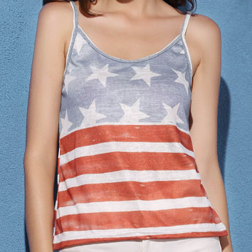 Stars and Stripes Printed Tank Top
