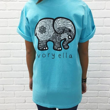 2016 Elephants Casual  T-shirt (Blue)