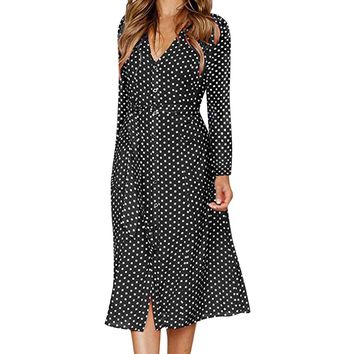Elegant polka dot midi dress women Long sleeve lace up v neck black dress plus size robe spring vintage party dress