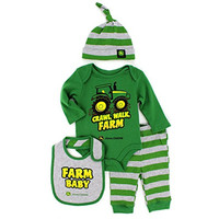 John Deere Baby 4pc Layette Set (3/6M, Green Farm Baby)