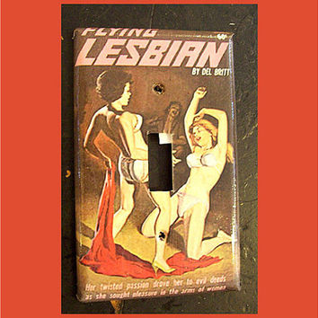 Lesbian pulp switch plate retro vintage paperback art sleaze pin up girl light switch