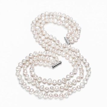 Genuine Freshwater Cultured Baroque Pearl Necklace in 925 Sterling Silver