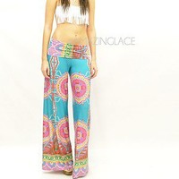 Teal Aqua Palazzo Pants Tribal Wide Leg Aztec Summer Fashion Print Pants Gaucho