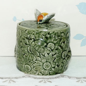 Honey Pot and Lid, Sunflowers and Bees, Secla, Portugal, Green, Bee Finial, 1960's, Majolica, Kitsch, Collectable, Homewares, Kitchenalia