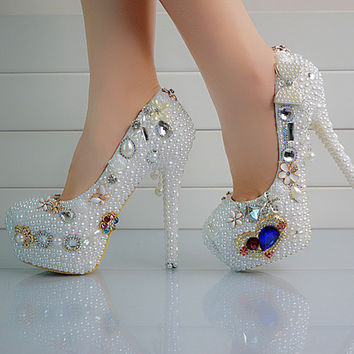 Milanblocks Embellished Glamour Bead Pumps Custom Make Heels Shoes